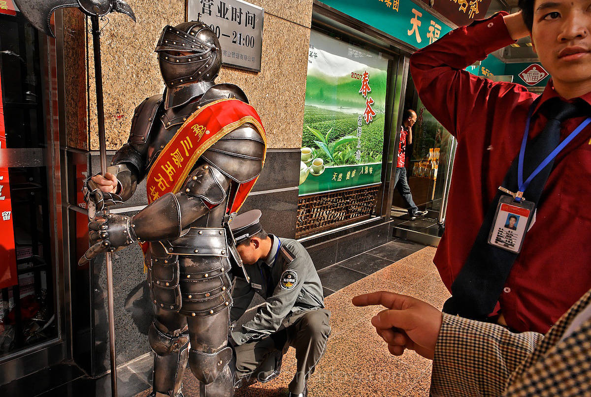 Guy in Knight Suit Sells Snacks | Nanjing Road | Shanghai, China