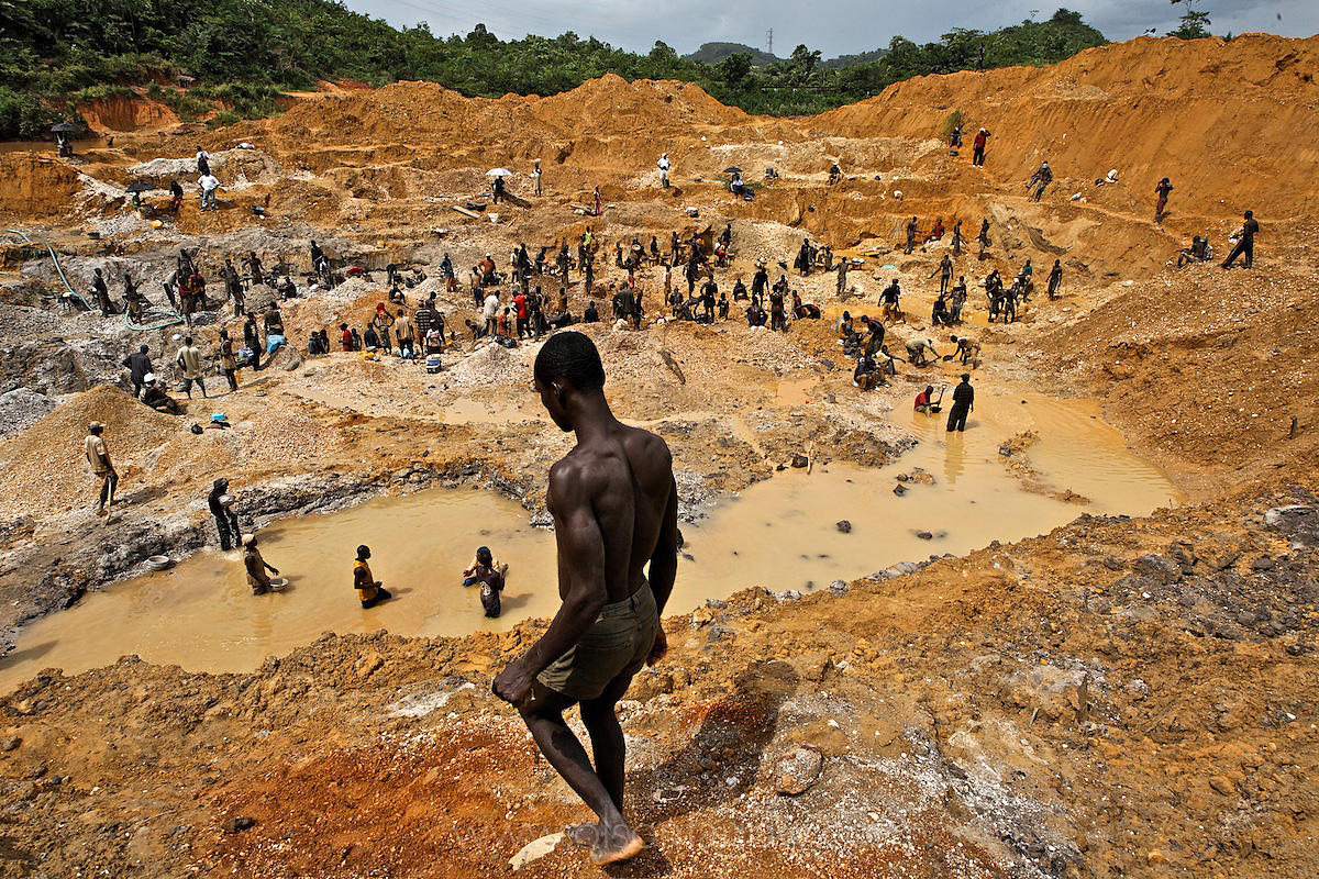 Illegal Gold Miners Crawl Like Ants on Riverbank | Ghana, Africa