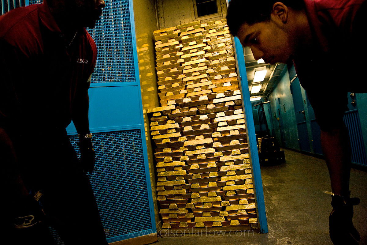"""The door at the vault to the NY Fed says: """"Gold is Irresistible."""""""