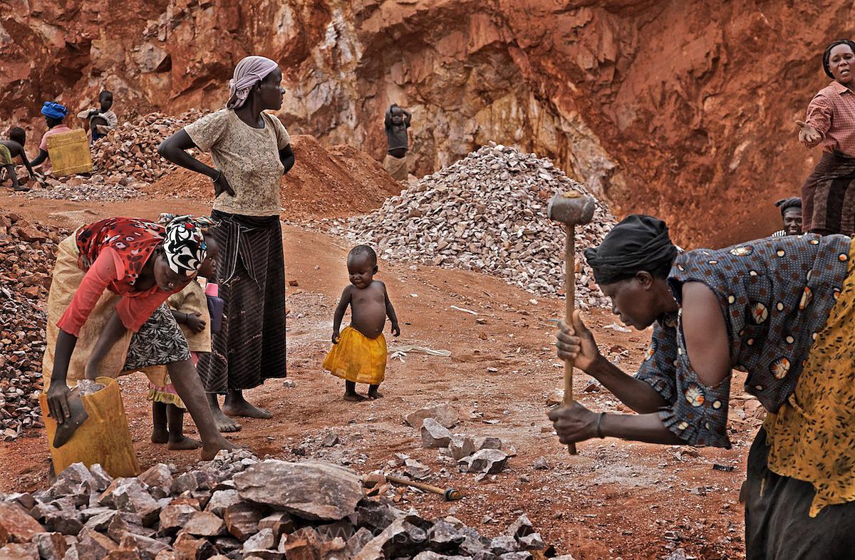 LRA War Victims Break Rocks into Gravel | Kampala, Uganda