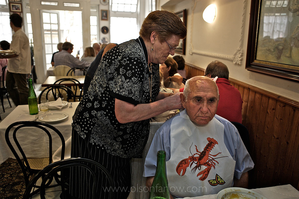 Lobster Bib in Seafood Restaurant in Galicia, Spain