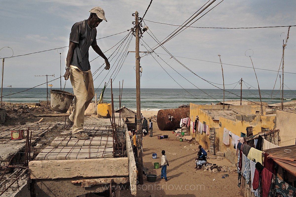 Saint Louis, Senegal Squatter Town Next to Fishing Boats on Ocean
