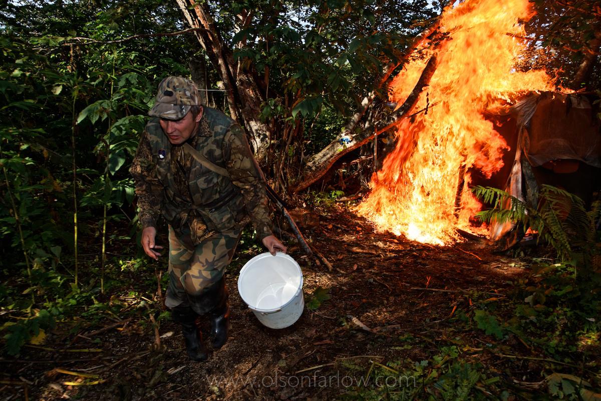 Warden Torches Poacher Camp