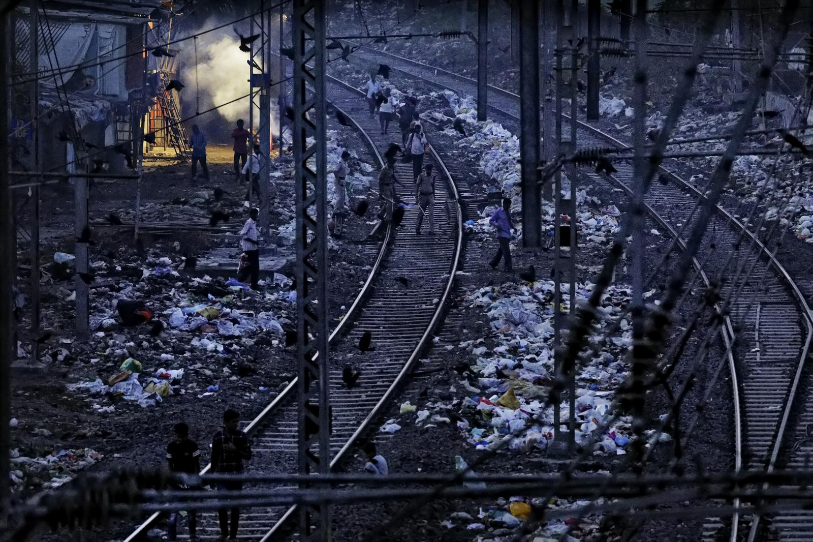 Train Tracks Near Dharavi Slums