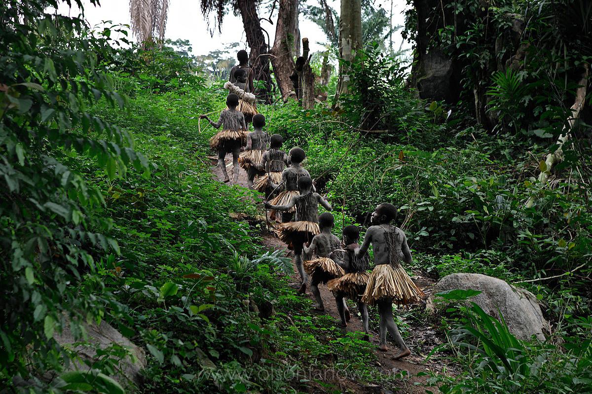 Pygmy Boys in Manhood Ritual March Through Ituri Forest | DR Congo