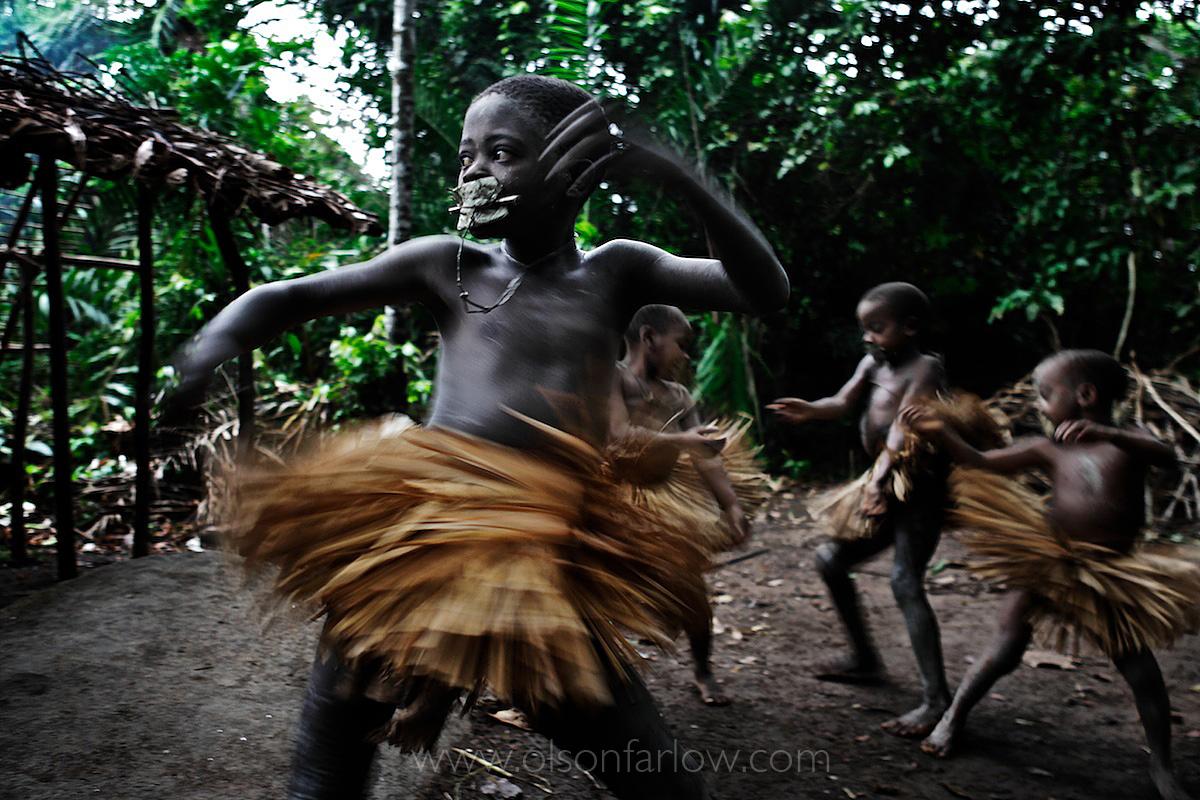 Dancing Pygmy Boys Wearing Circumcision Skirts | DR Congo