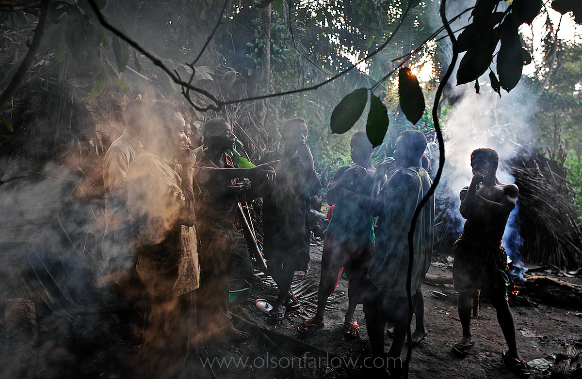 Pygmies Play Handmade Flutes in Ituri Hunting Camp | DR Congo