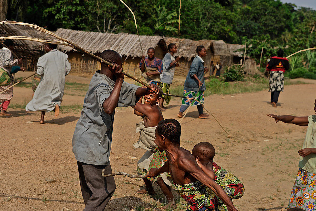 Pygmies Whip Each Other at End of Pygmy Manhood Ritual | Salate, Congo