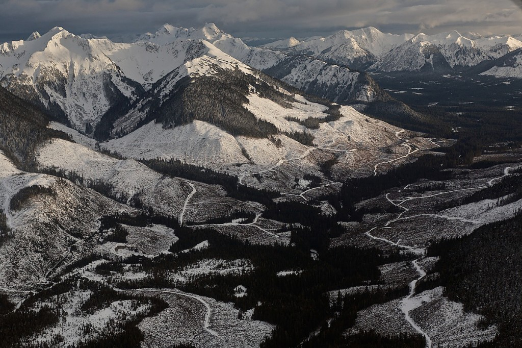 Landscape showing white cleared hillsides in snowy mountains.