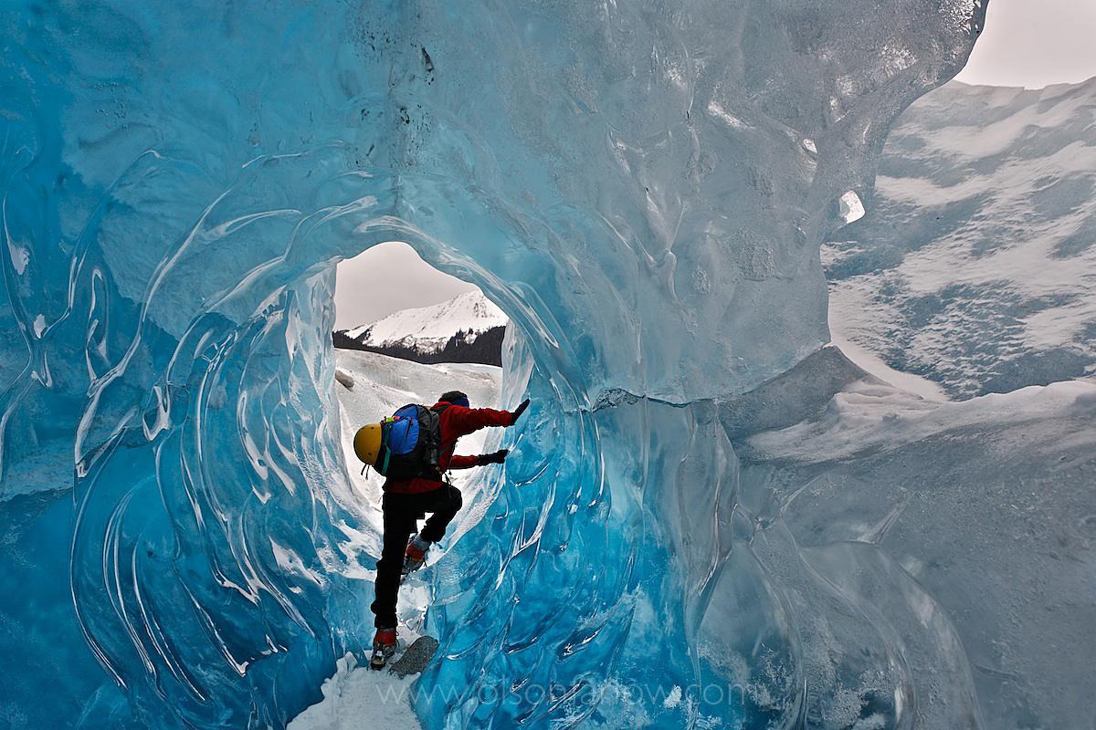 Ice Tunnels In Glacier