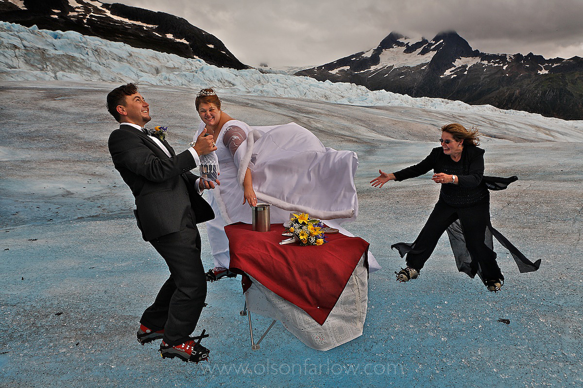 Champagne Uncorked For Wedding On A Glacier