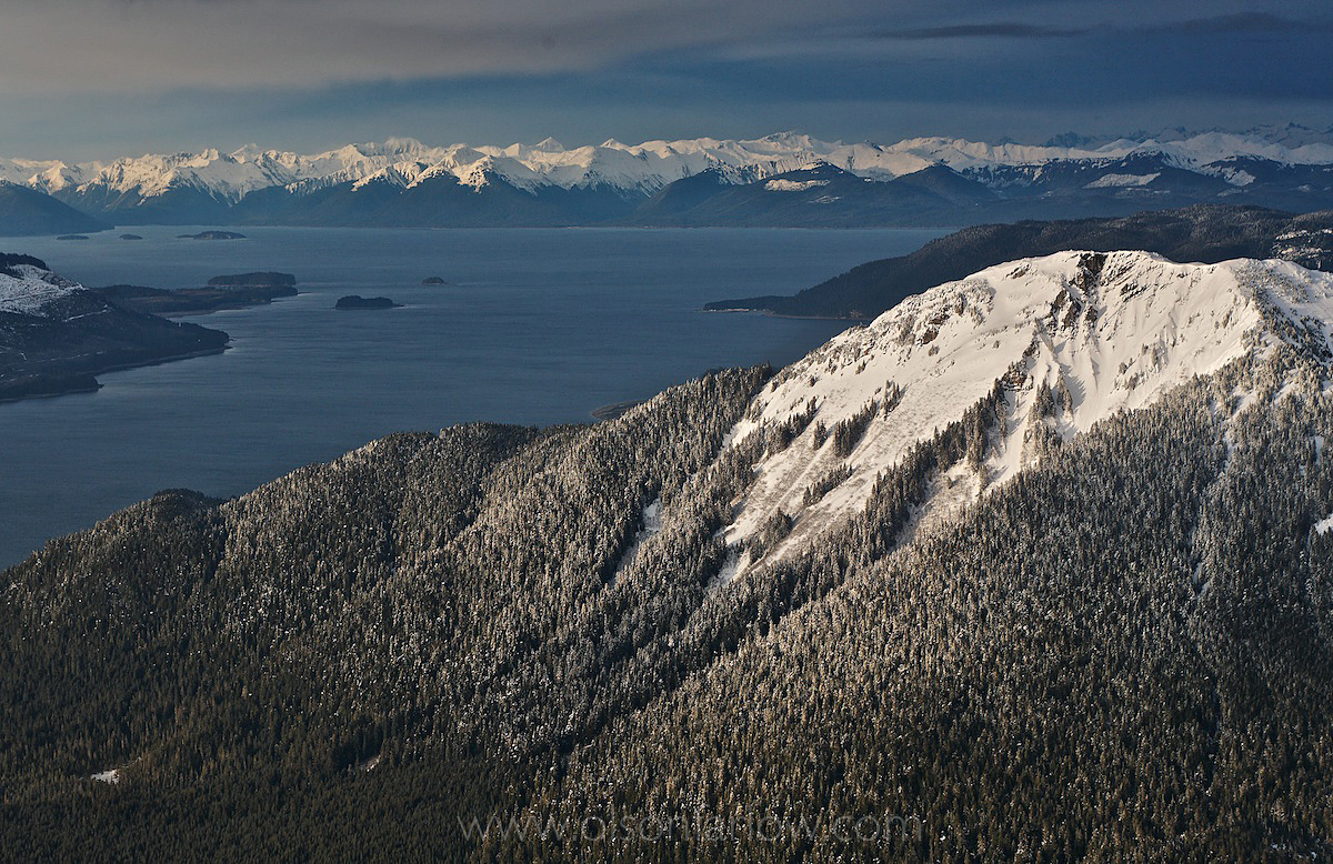 Snow-Covered Cliffs on Icy Strait