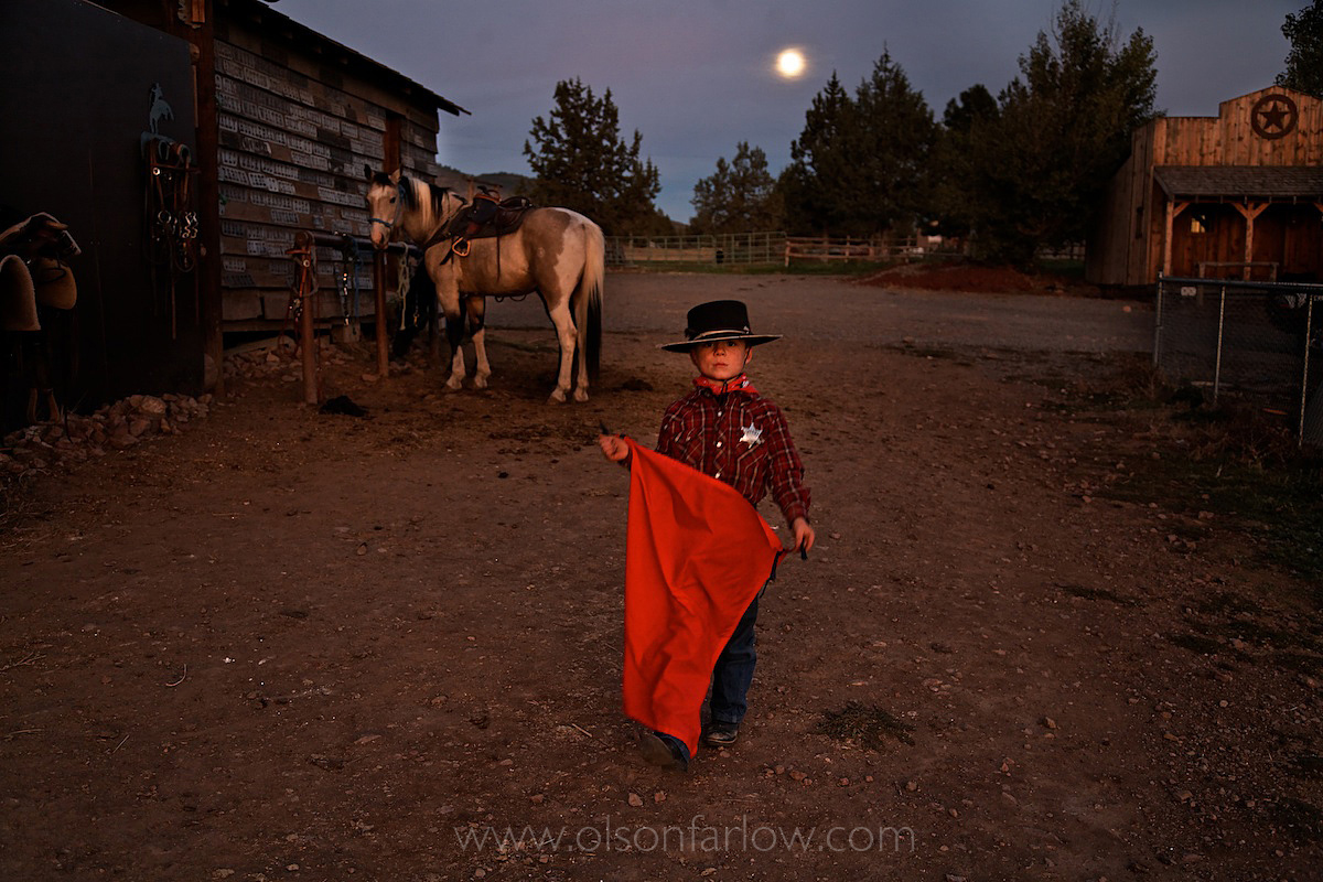 Boy Works and Plays As Part Of Oregon Ranch Life
